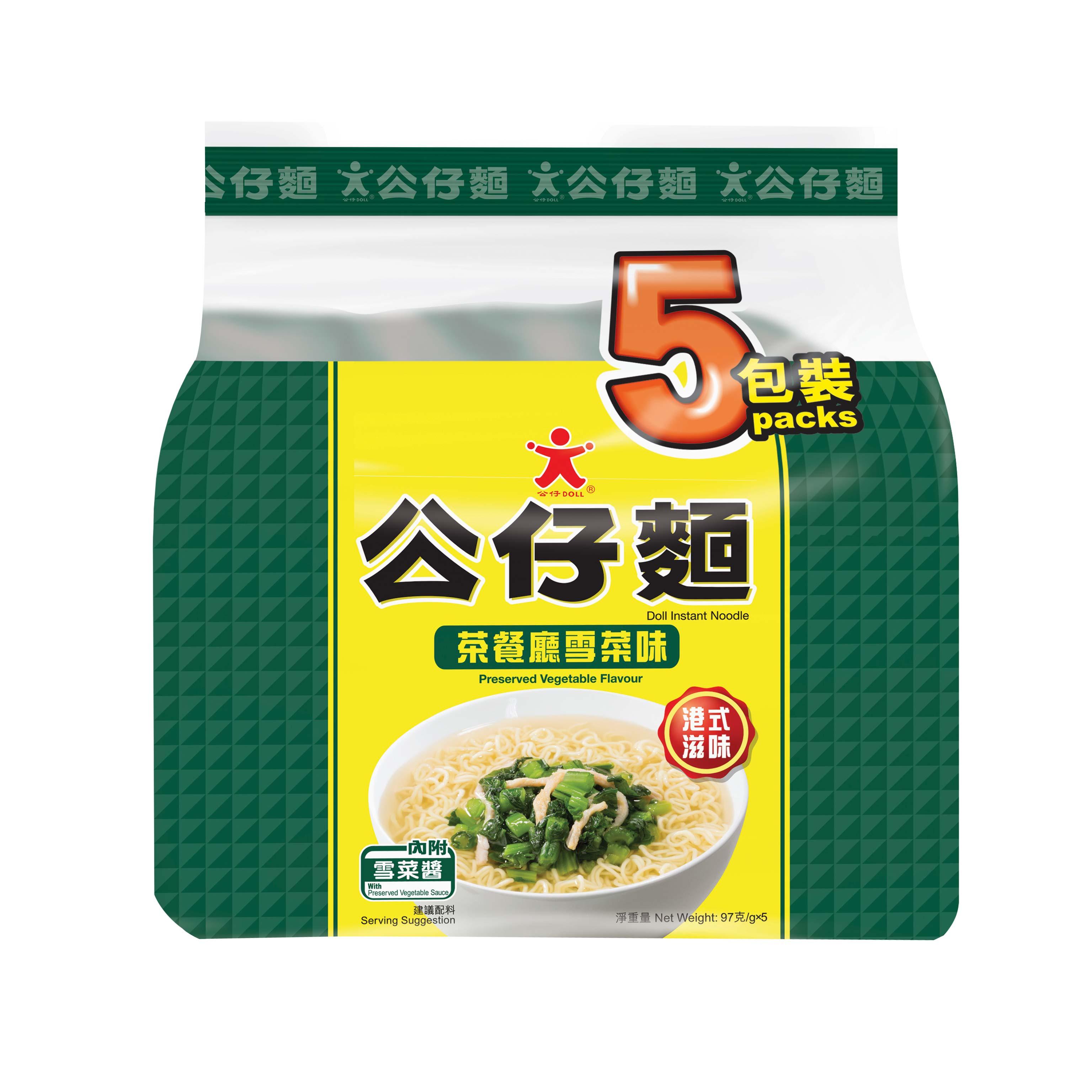 ~天貓超市~香港  茶餐廳雪菜味公仔麵5包裝 97g^~5 香港麵