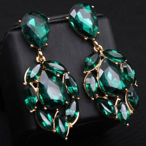 欧美耳环夸张长款复古女气质时尚潮人个性百搭水晶绿宝石耳坠耳饰
