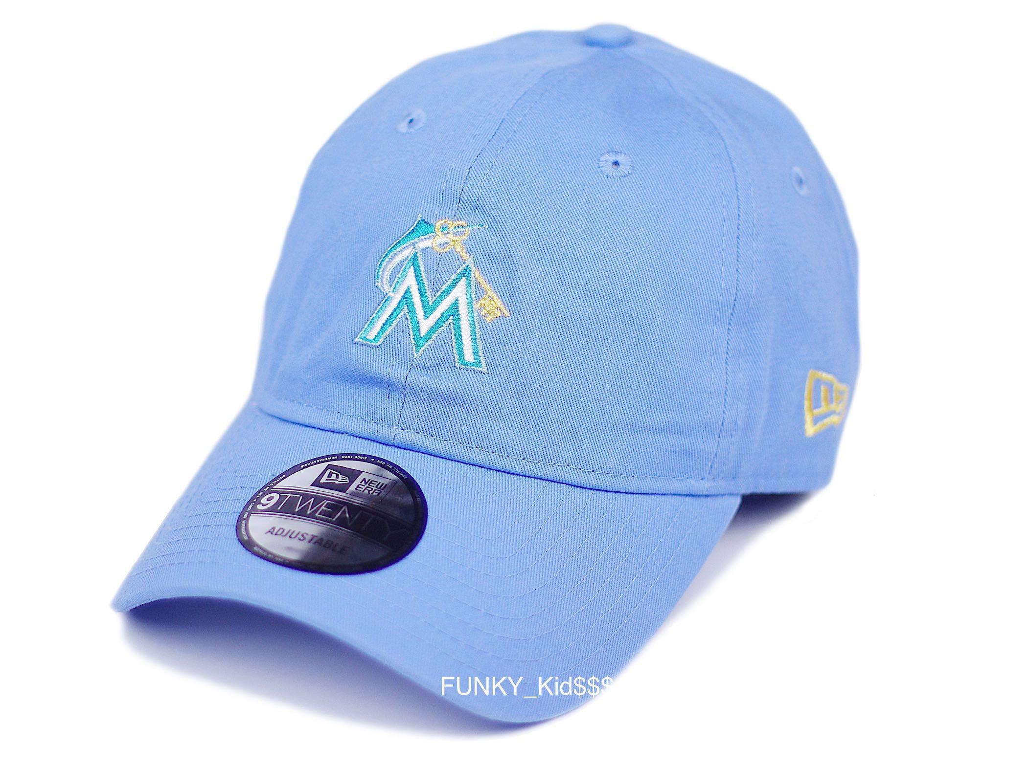 New Era美国MLB棒球大联盟迈阿密马林鱼队粉蓝色弯檐棒球帽可调节