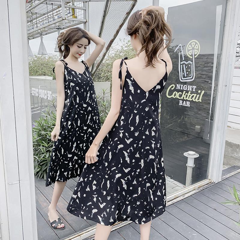 Suspender dress womens 2021 spring and summer new V-neck Black Floral Chiffon medium length lace up long skirt