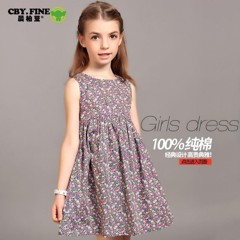 童装夏装2019新款女童连衣裙碎花中大童全棉无袖公主裙装儿童裙子