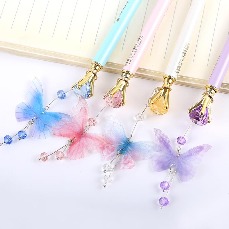 蝴蝶吊坠钻石金属自动铅笔 可爱挂件自动笔 小清新少女心活动铅笔6.66元包邮