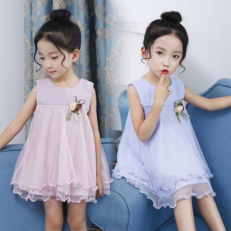 Девочки лето платье принцессы 2017 новый ребенок ребенок цветы марля юбка жилет юбка кукла юбка новые товары бесплатная доставка