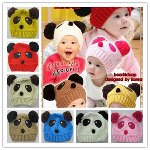 2015 new winter infant baby panda hat knit wool hat Korean children set of head cap