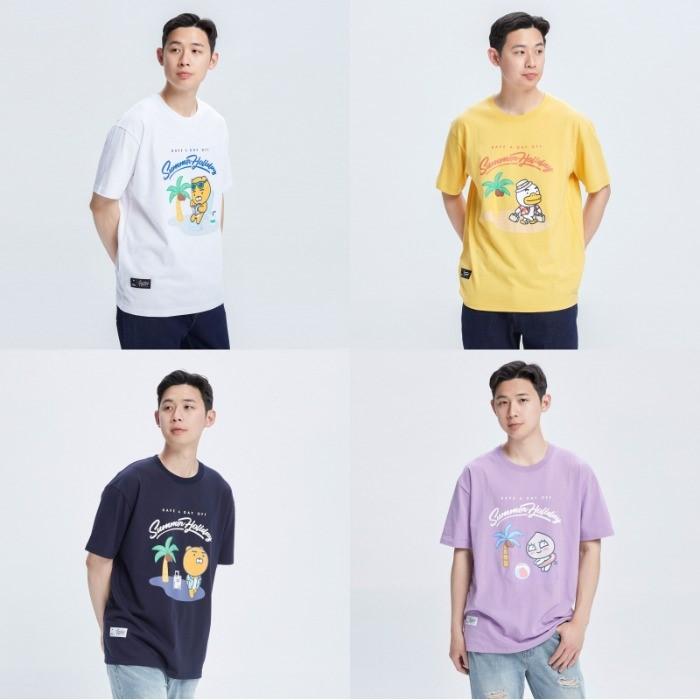韩国代购NII联名KAKAO FRIENDS卡通夏日沙滩热带风情男女短袖T恤