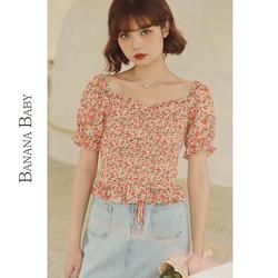 BANANA BABY2020夏季新款设计感小众方领雪纺碎花衬衫女短款小衫
