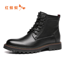 Red Dragonfly men's shoes autumn and winter 2019 new Martin boots retro British plush leather fashionable men's boots high top leather shoes