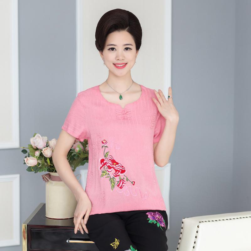 中老年妈妈装棉麻刺绣套装夏季新款短袖复古两件套40岁50休闲女装