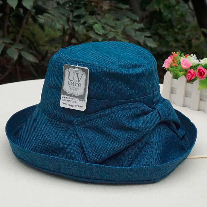 日本遮阳帽子女士夏天韩版棉款透气凉帽渔夫帽防紫外线可折叠布帽