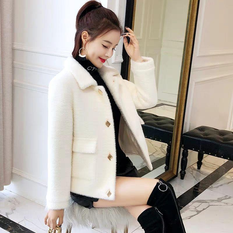 秋女装仿貂绒短款外套女韩版宽松女学生显瘦毛呢上衣针织开衫女冬