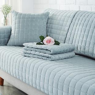 冬季沙发垫北欧毛绒皮防滑坐垫子加厚四季通用一套全包万能套罩巾