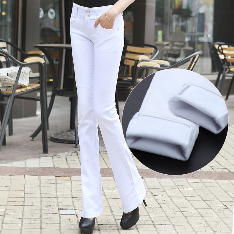 Black and white elastic micro trumpet Plush jeans womens winter 2020 new slim slim straight leg pants