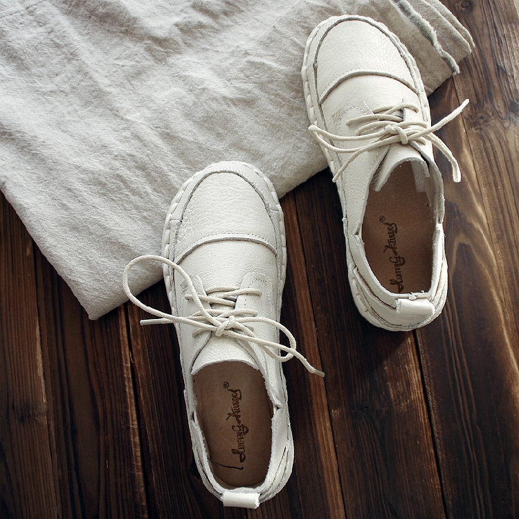 包邮春夏新款原创复古文艺手工单鞋森系真皮小白鞋圆头浅口牛皮鞋