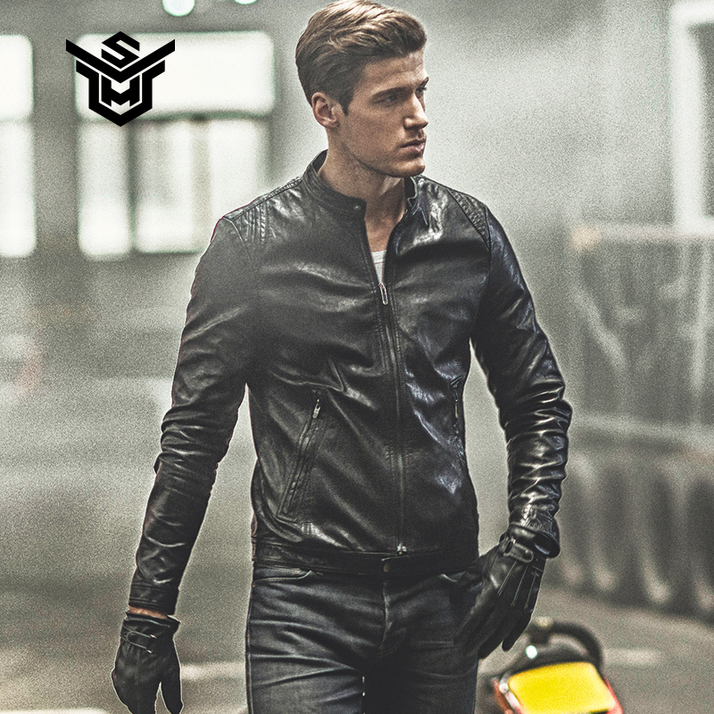 Leather men's spring new motorcycle jacket trend men's pu leather jacket Slim Korean handsome