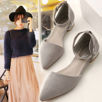 2016 new Korean female hollow pointed flat suede shoes asakuchi header Word-buckle shoes