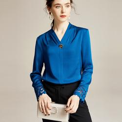 朗姿女装专柜正品国内代购2020春季新款长袖衬衣真丝缎面衬衫上衣