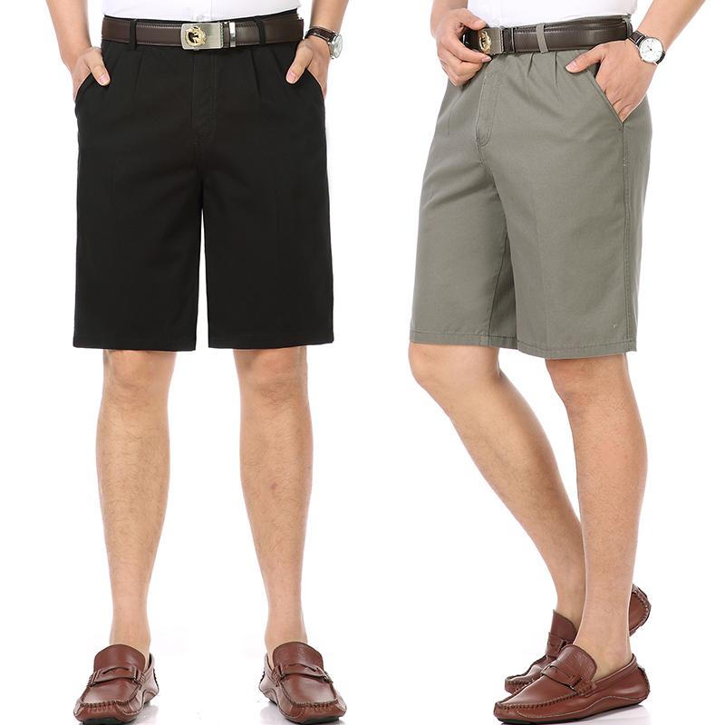 全棉布料半截节50爸爸60五分库55多65岁45中年男人穿40系皮带短裤