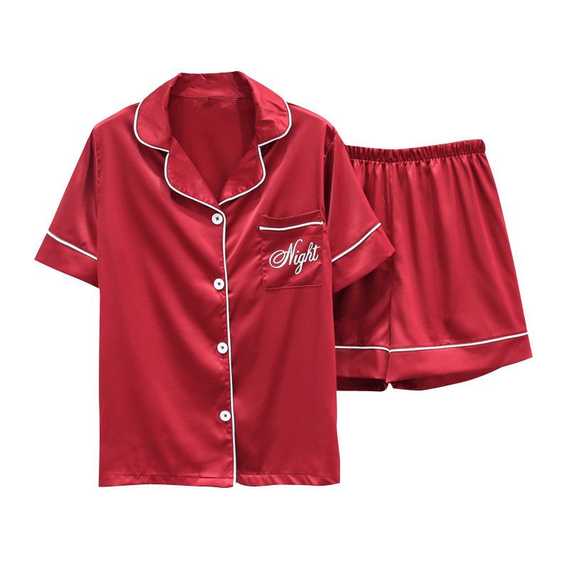 韩版情侣睡衣夏季短袖冰丝套装男生女士简约休闲薄款家居服仿真丝