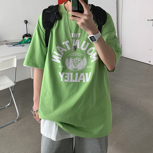 夏季ins風潮流簡約寬鬆文藝五分袖上衣韓版字母印花男生短袖T恤