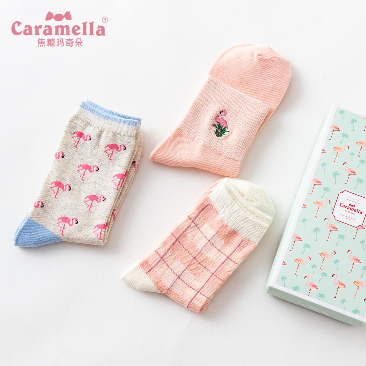 10月10日最新优惠caramella春夏火烈鸟刺绣中筒袜