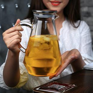 大容量耐高温冷水壺加厚耐熱玻璃果汁壺家用防爆涼白開水壺套裝