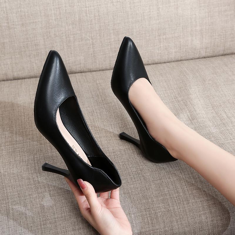 空乘高跟鞋2021新款真皮百搭单鞋尖头细跟职业工作鞋正装黑色皮鞋