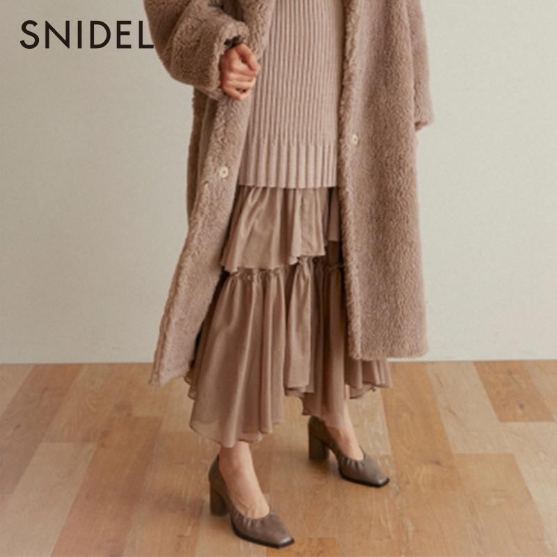 SNIDEL2019秋冬新品甜美仙女层叠不规则棉半身蛋糕长裙SWFS194120