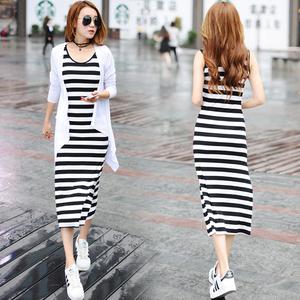 夏季韩版修身大码打底黑白条纹背心中长款莫代尔连衣裙女沙滩裙