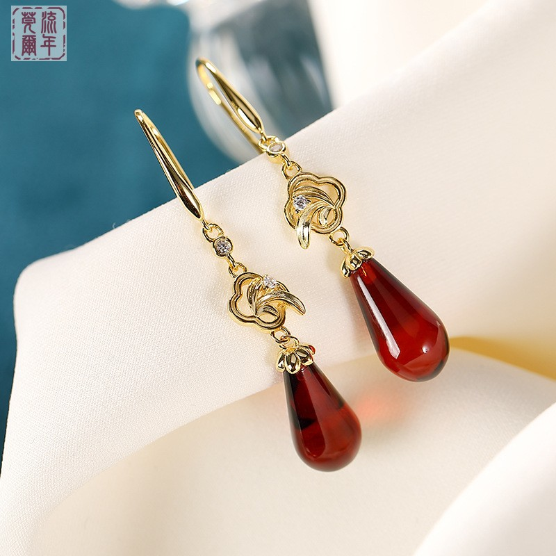 S925 pure silver gold plated natural blood pearl water drop earrings womens Retro national style bamboo leaf wreath long earrings