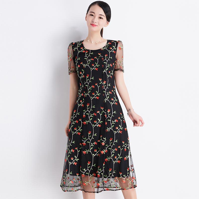 台湾品牌女装夏季新款高档网纱刺绣连衣裙女气质显瘦 中长款8026P