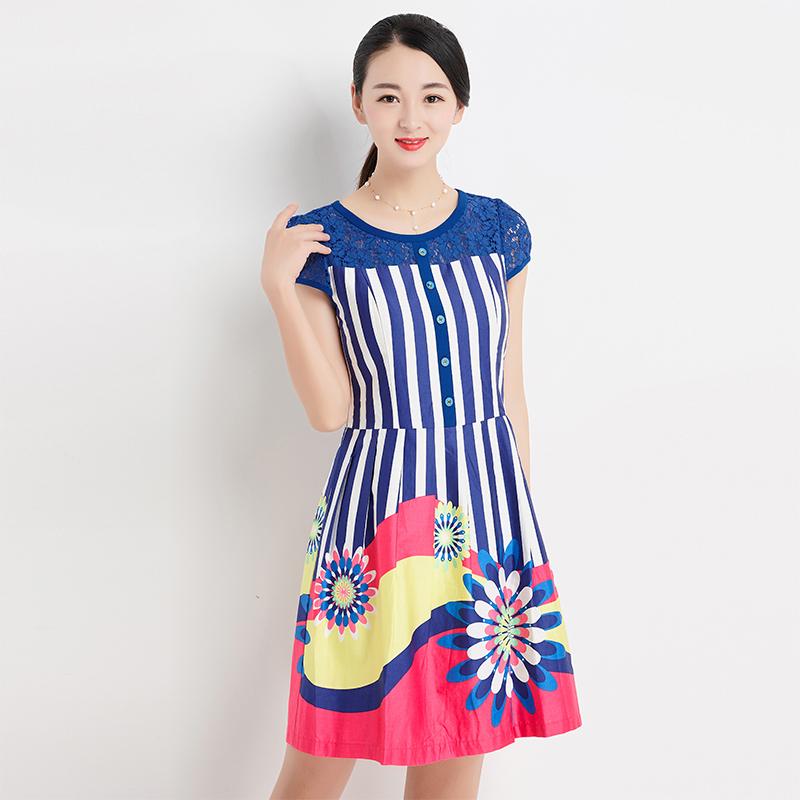 台湾品牌女装夏季新款联昌红美人蕾丝短袖条纹连衣裙修身中长1271
