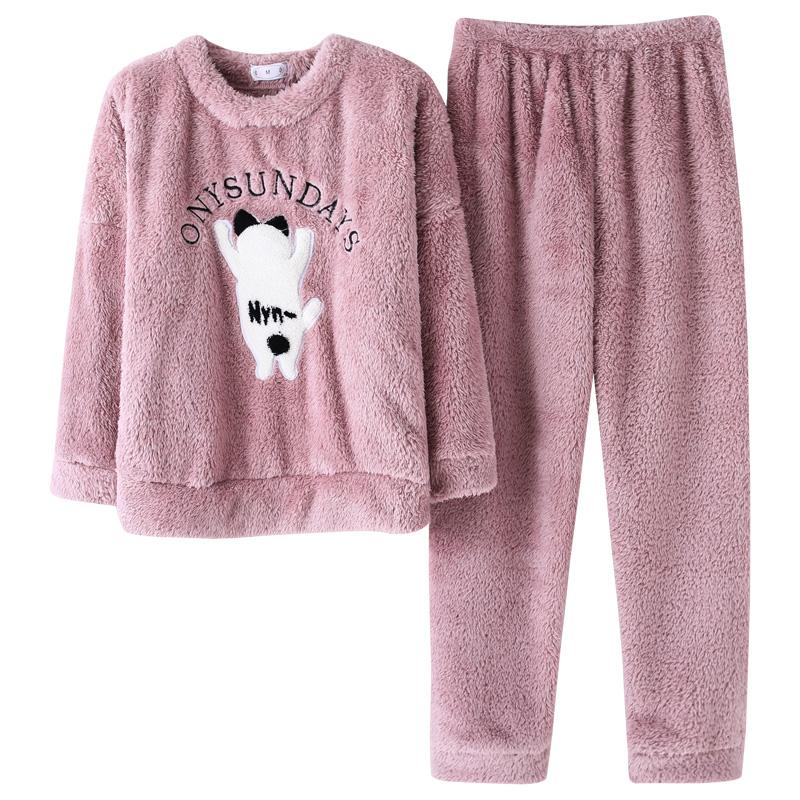 南极人韩版珊瑚绒睡衣女春秋冬加厚法兰绒卡通可爱学生家居服套装
