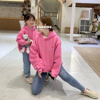 Прозвище детский склад родитель-ребенок стиль замшевый толстовка Зимняя одежда новая коллекция детские слово Мать вышивка замшевый удерживающий тепло капюшон верх Прилив одежды