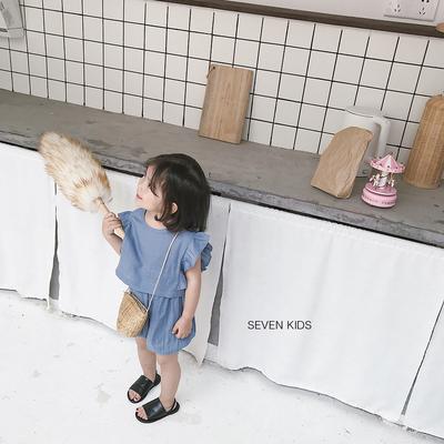 柒号童仓2019夏装新款儿童套装韩版女童 夏天凉快背心短裤两件套