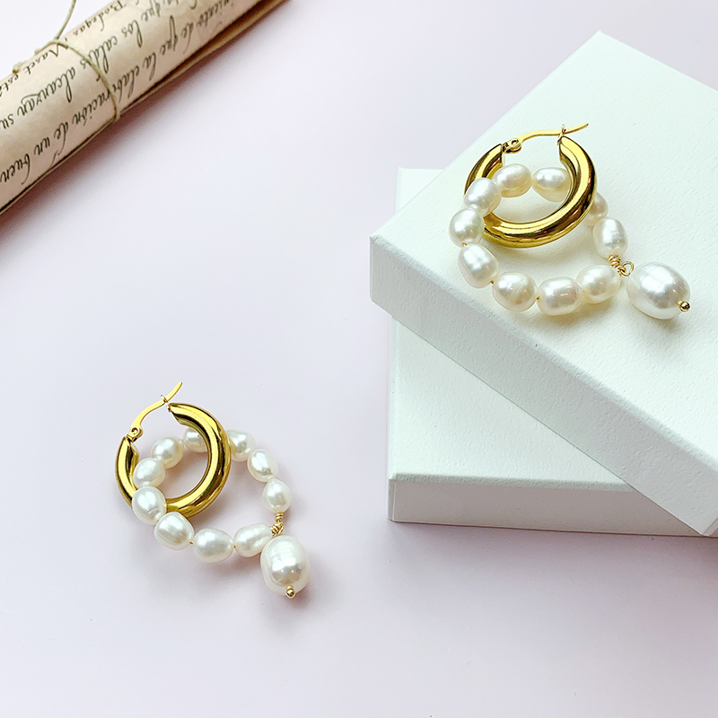 Baroque Pearl simple gold ring earrings NEW original design French style versatile Earrings 18K gold jewelry
