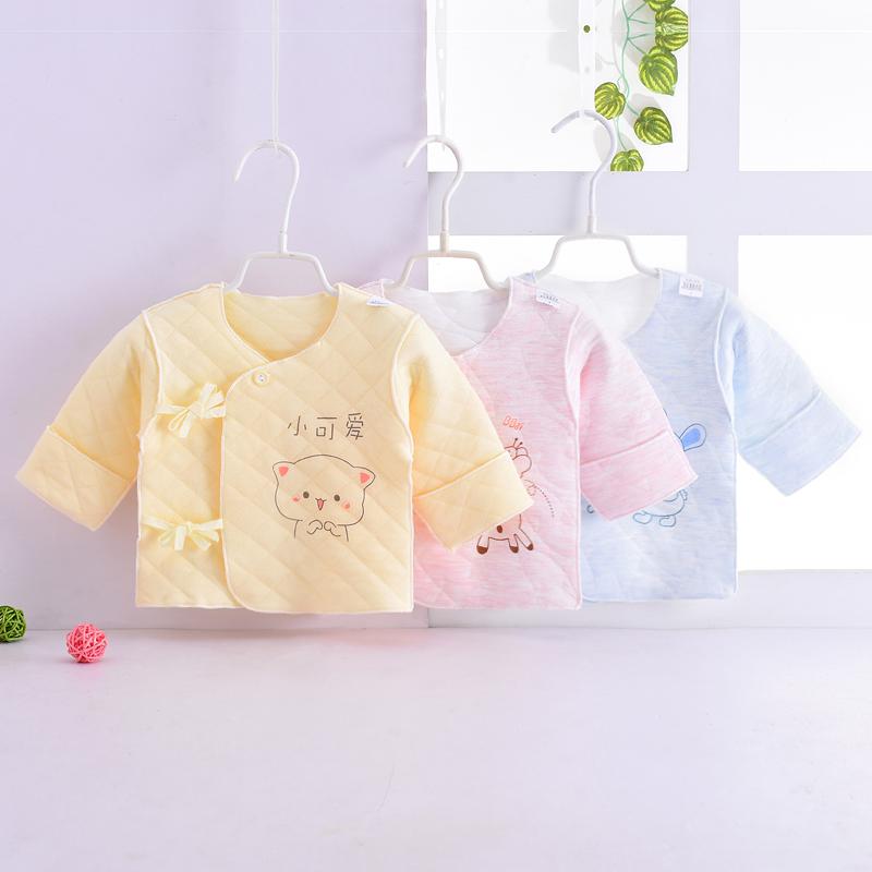 新生儿半背衣春夏0-3个月夹棉上衣