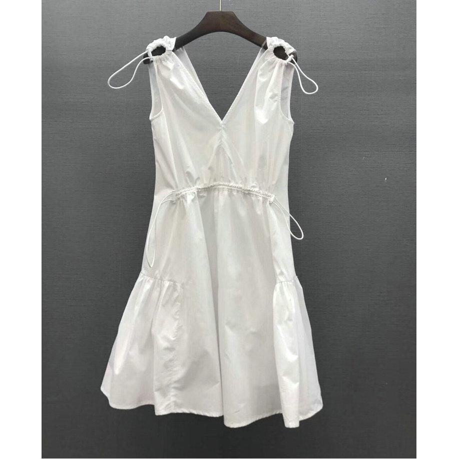 夏季女装新款精品肩头镂空抽绳系带 前后V领荷叶边下边无袖连衣裙