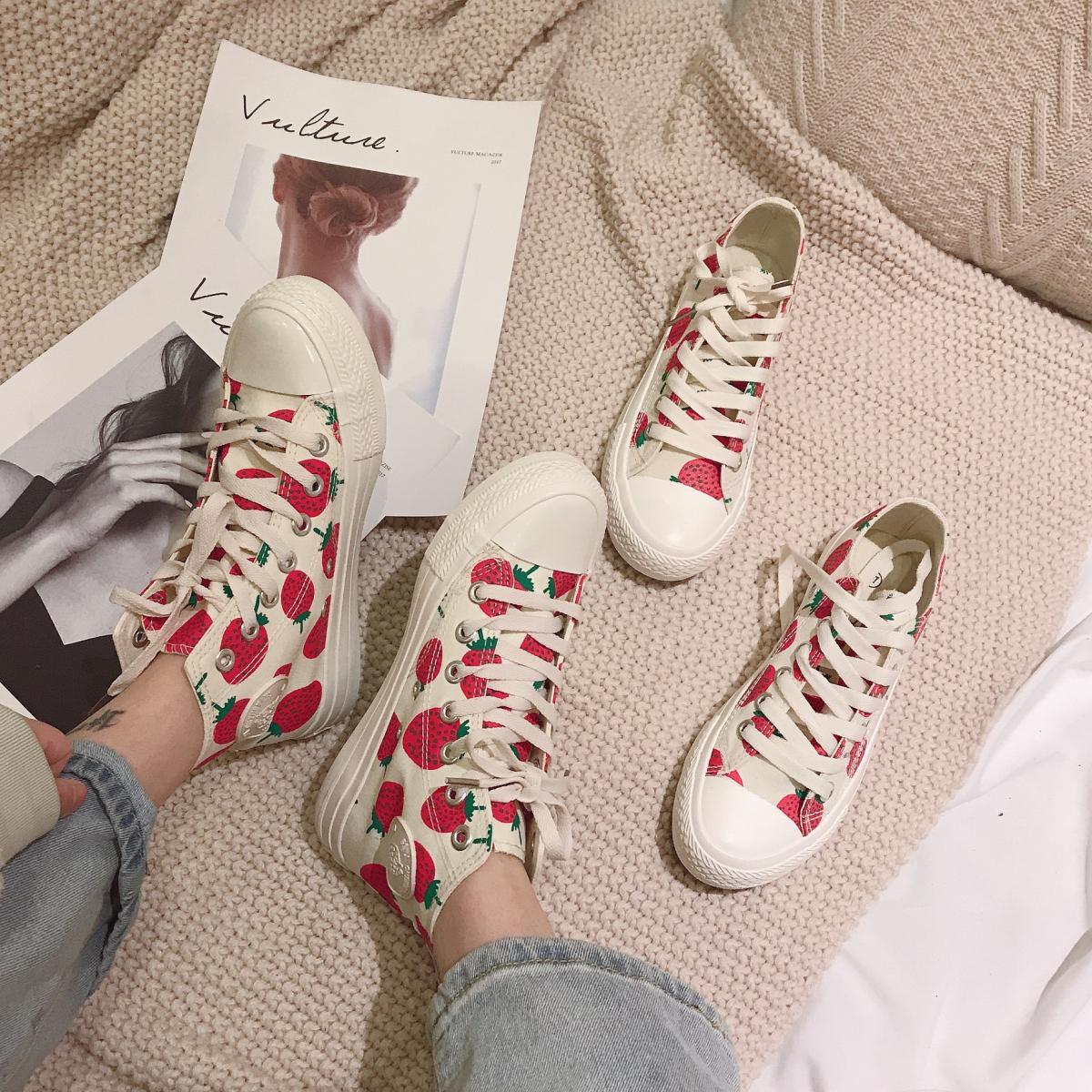 张小笨断码鞋温州鞋不退换圆头软底舒适帆布草莓系带休闲鞋女鞋子