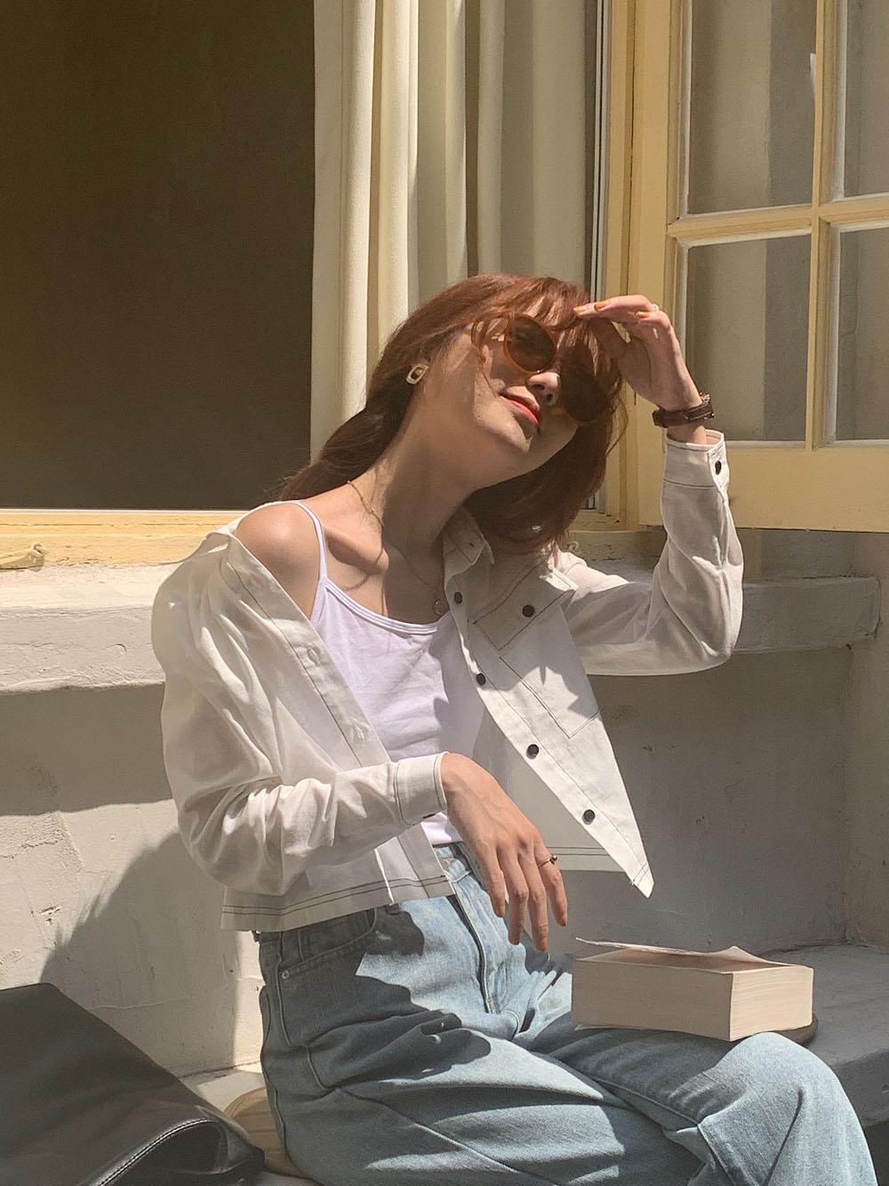 最小的海 自制韩版秋季新品小众气质短款撞色明线长袖衬衫薄款女