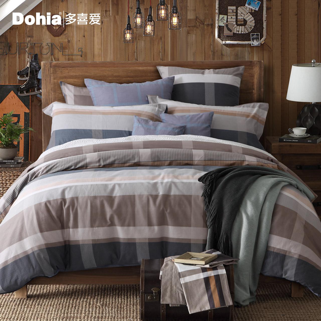 多喜爱2018新品四件套全棉套件床上用品条纹床单被套西雅图之旅