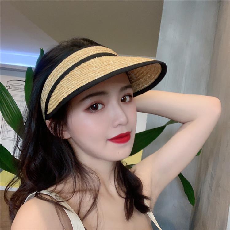 韩版女夏季网红空顶防晒遮阳帽文艺风百搭遮脸草帽出游无顶鸭舌帽
