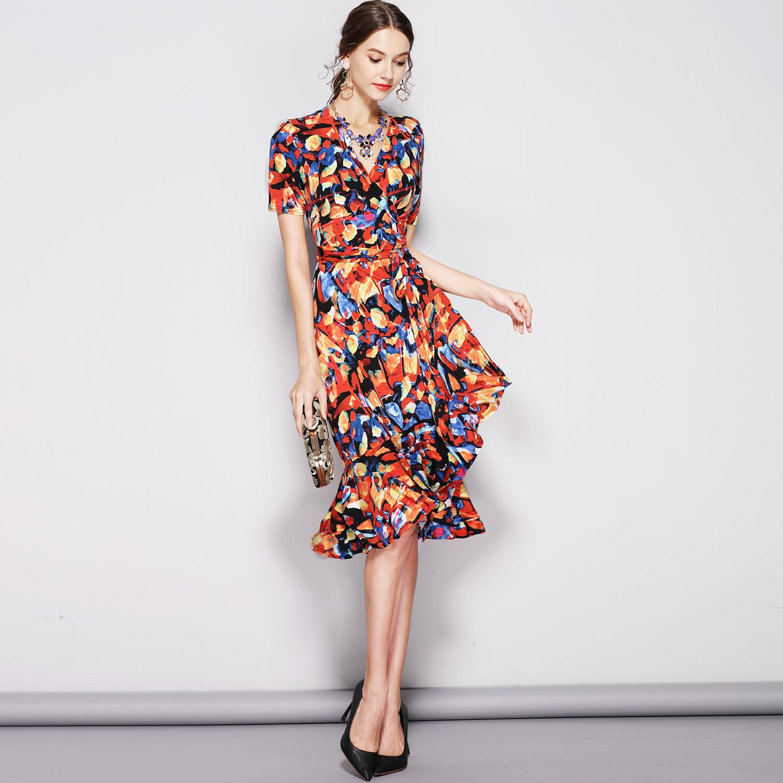 RL品牌女装新款修身显瘦裹身裙荷叶边鱼尾连衣裙围裹裙大码 C410