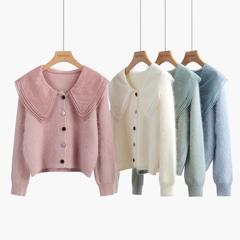 水貂绒毛衣女开衫2019新款秋装娃娃领甜美宽松软奶蓝短款外套毛衫