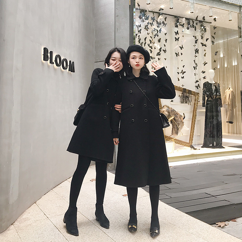 南瓜谷毛呢外套女冬双面呢子黑色赫本大衣女小个子新款2018MN096