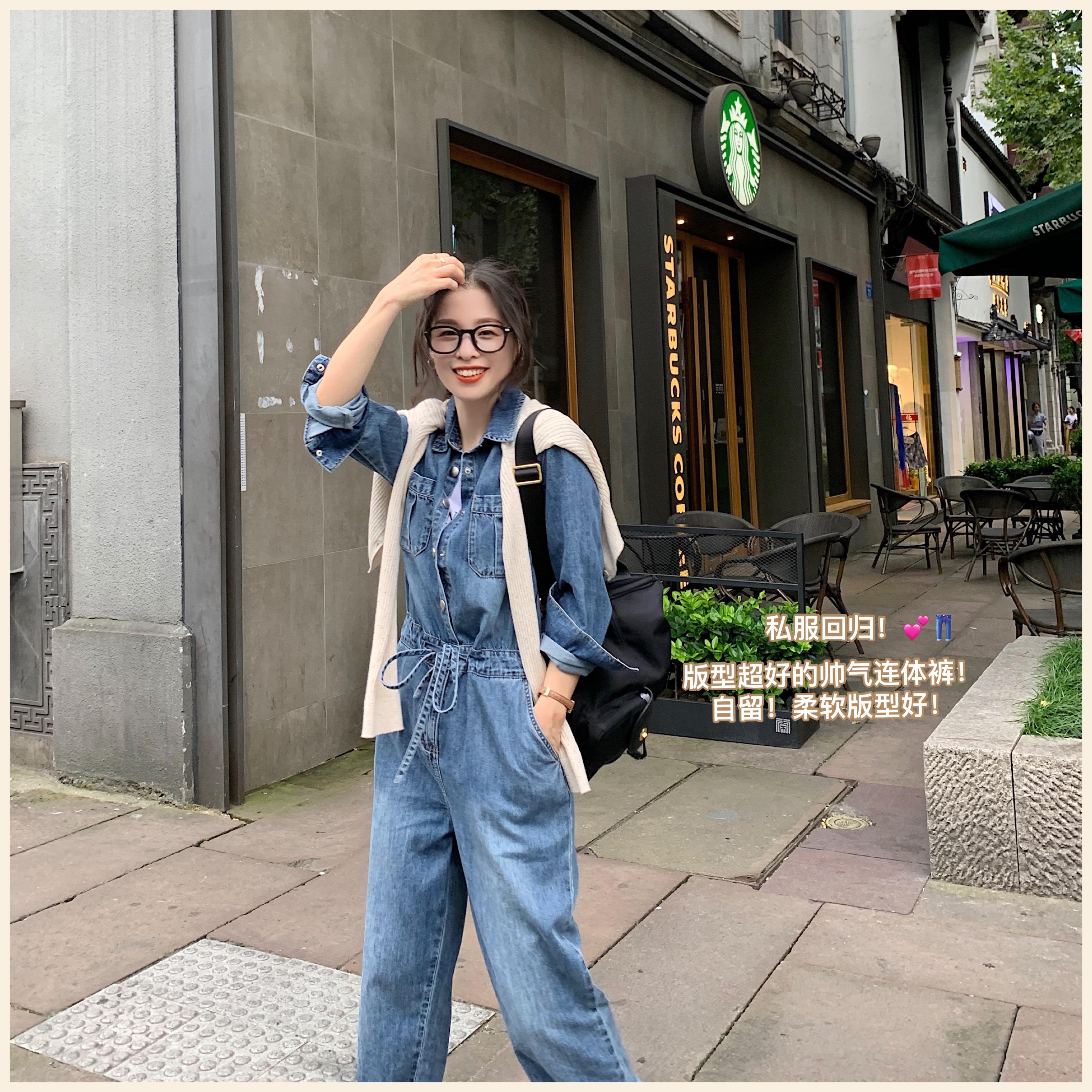 南瓜谷 复古黑胶连体裤~裤子新款纯棉气质时尚牛仔连体衣女 K05