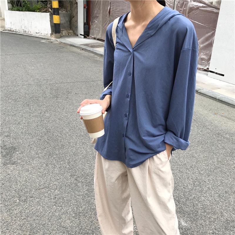 im向自制 秋季必备款 天丝亚麻宽松长袖单排扣连帽衬衫 脏粉/灰蓝