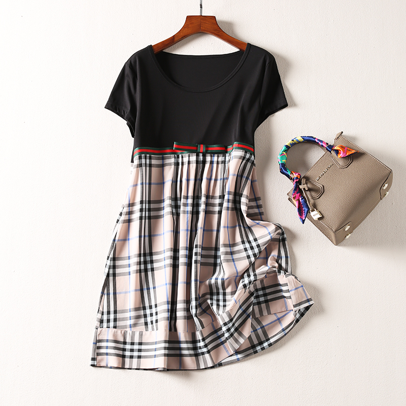 秒149元 设计师爆款巴家棉质时尚简约格子裙中长款连衣裙