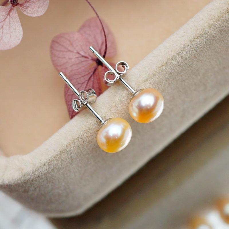7mm925买二送一银极亮无瑕小可爱天然淡粉色小珍珠耳钉耳环