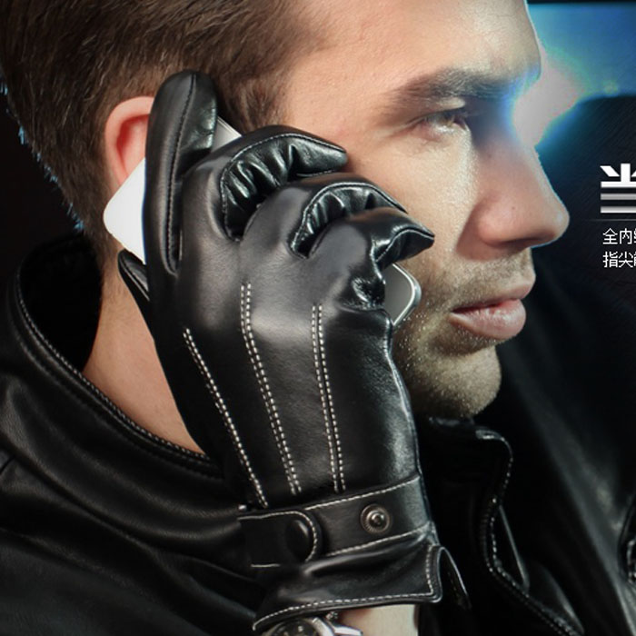 Взрывы кожаные перчатки мужские зимние холодной тонкие тонкие перчатки овчины водонепроницаемый Мужские кожаные езда Перчатки