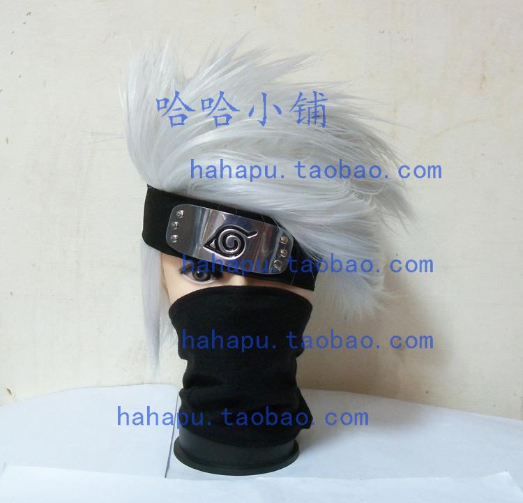 Ха-ха флаг деревянные аниме Наруто, Какаши листья Cos парик + голова + лицо маски с трех частей комплекта